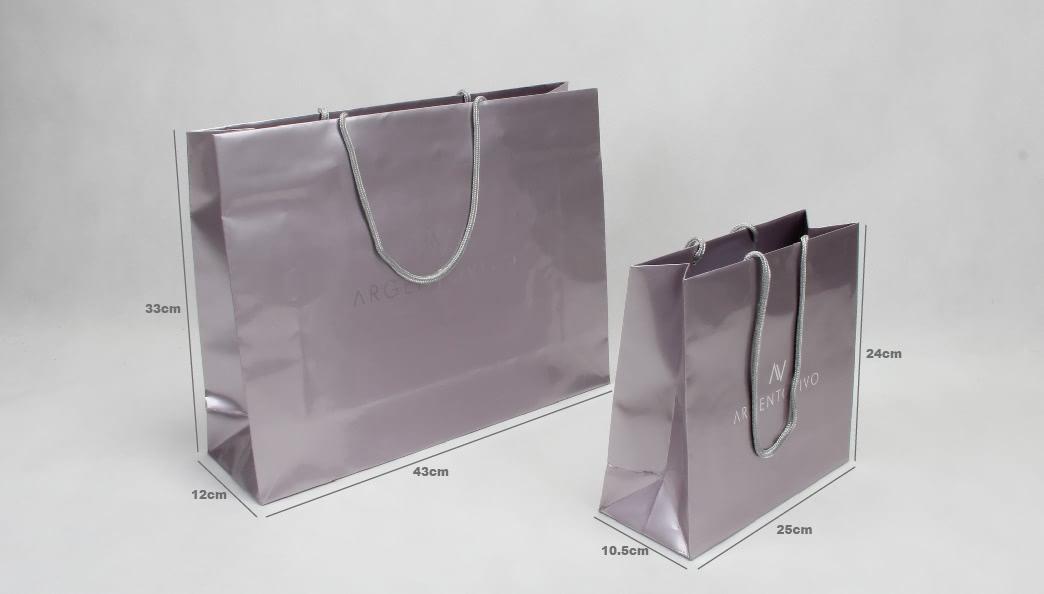Luxury Gloss Garment Paper Bags Set size