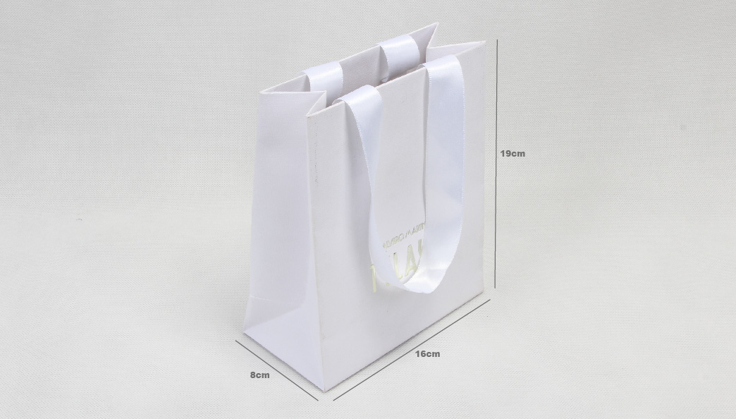 Luxury Pure White Cosmetic Shopping Paper Bags With Ribbon size