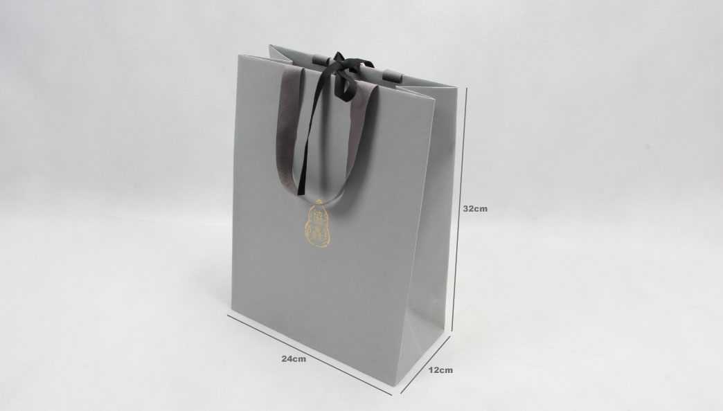 Premium Grey Garment Paper Bags With Hot Stamping Logo size
