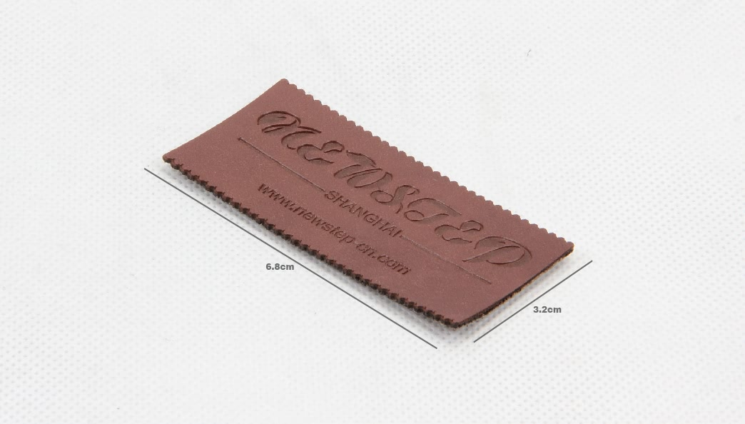 Premium PU Leather Clothing Woven Labels Tags size