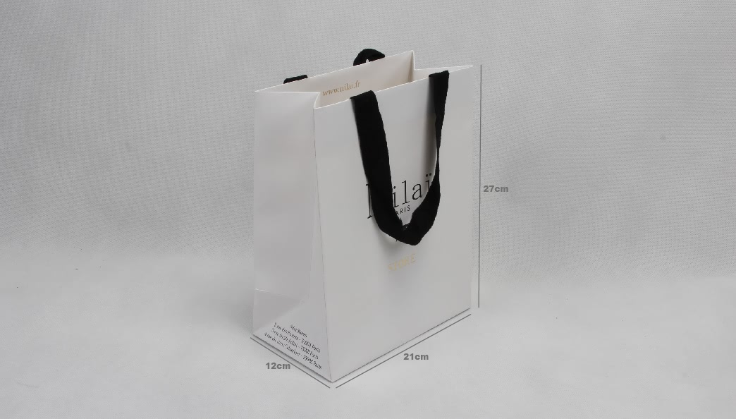 Pure White Jewelry Gift Paper Bags With Turnover Top size