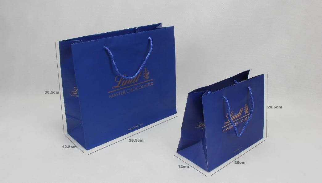 Royal Blue Garment Paper Bags Set size