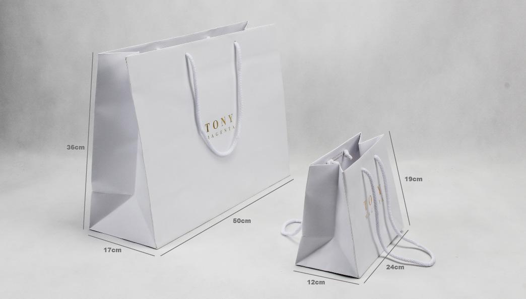 White Laminated Matt Garment Paper Bags Set size