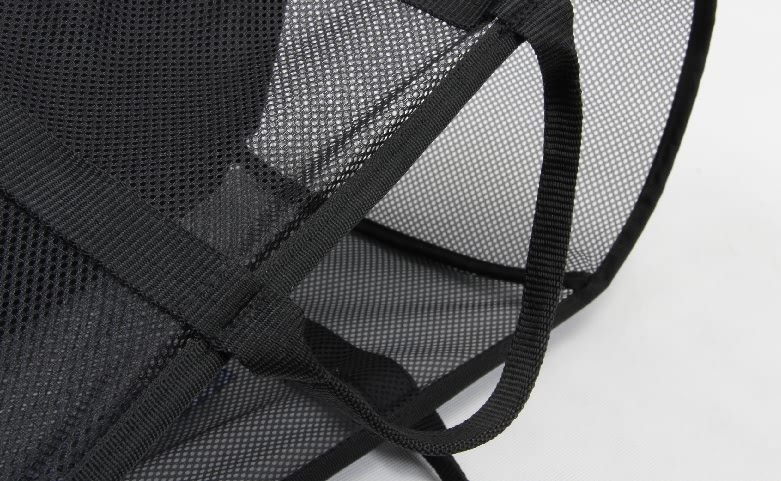 Black See-thru Mesh Cloth Shopping Baskets handle