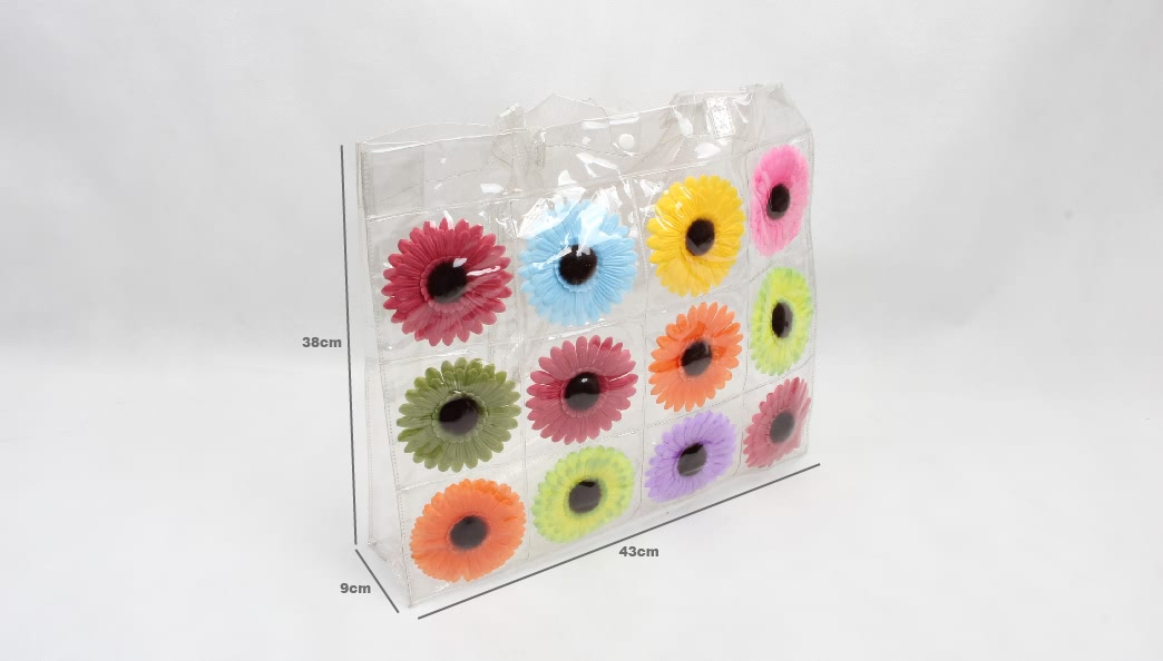 Colorful Flowers Clear PVC Tote Bags size