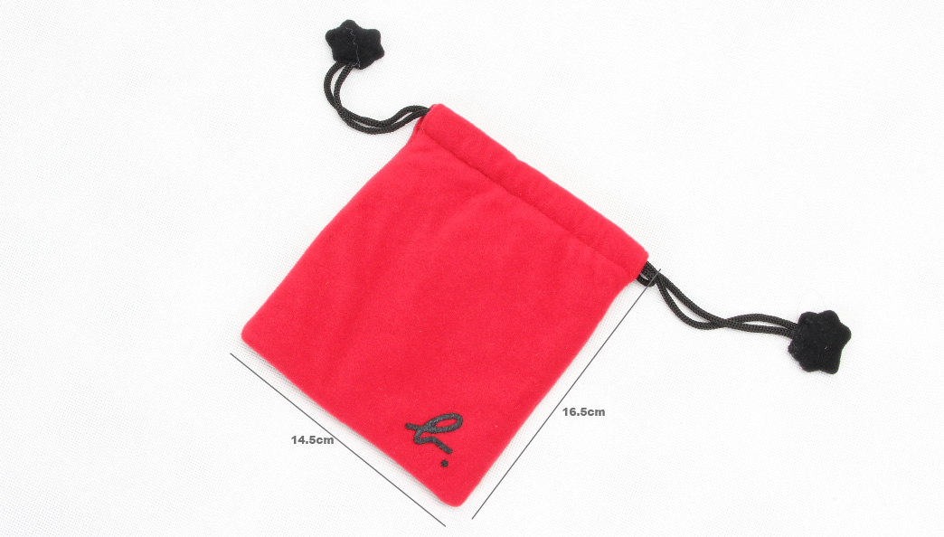 Cute Red Lint Drawstring Jewelry Bags size
