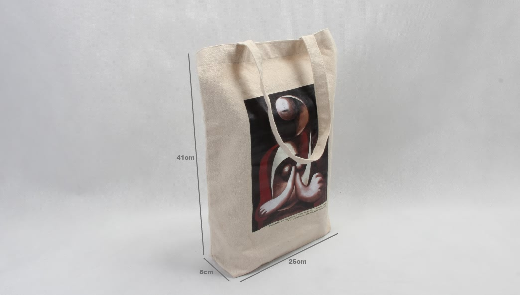 Vintage Oil Painting Grocery Canvas Tote Bags size