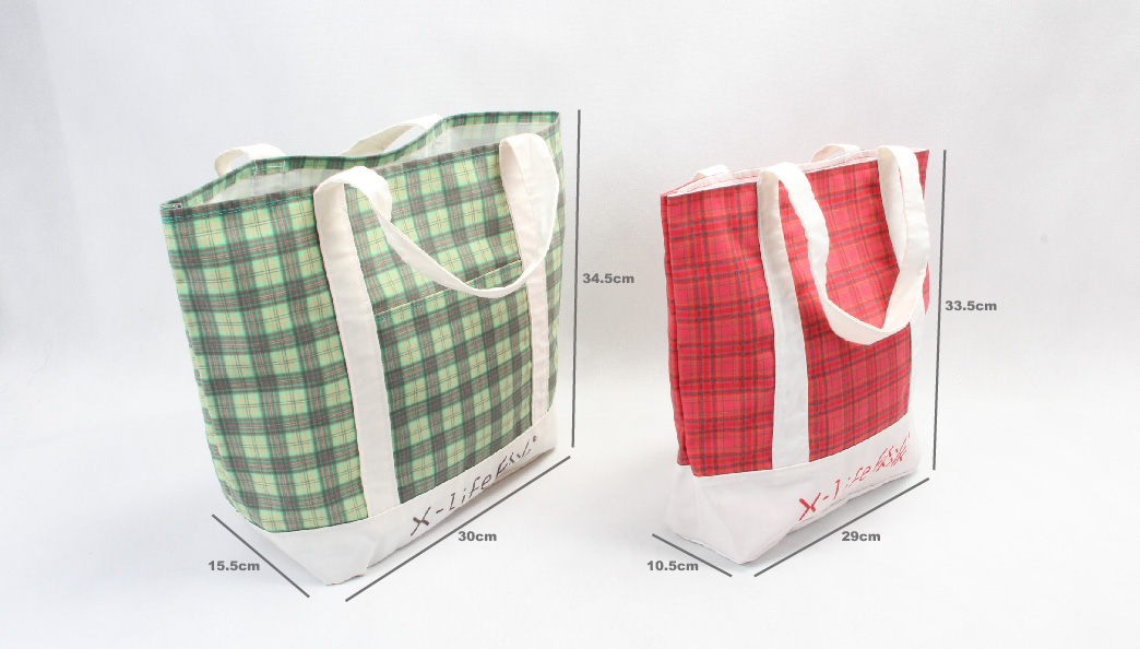 Vintage Style Checked Canvas Tote Bags Handbags Set size