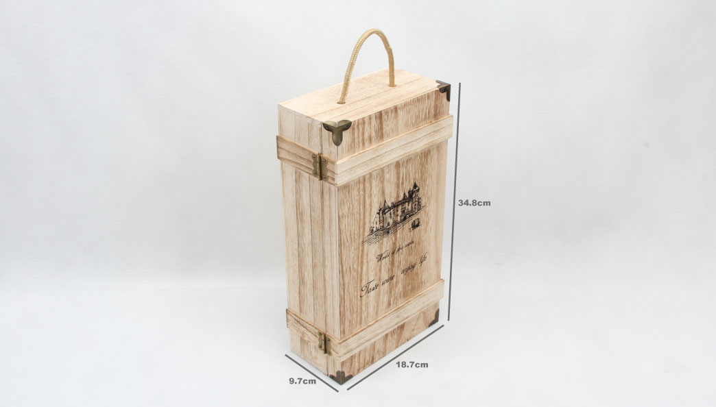 Vintage Style Wooden Wine Gift Boxe size