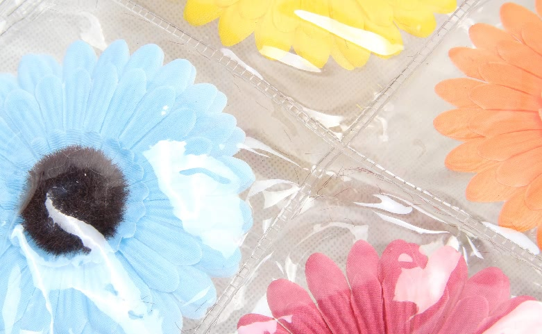Colorful Flowers Clear PVC Tote Bags detail