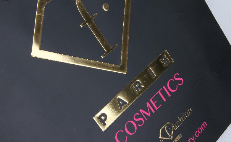 Fashion Black Cosmetic Paper Bags logo