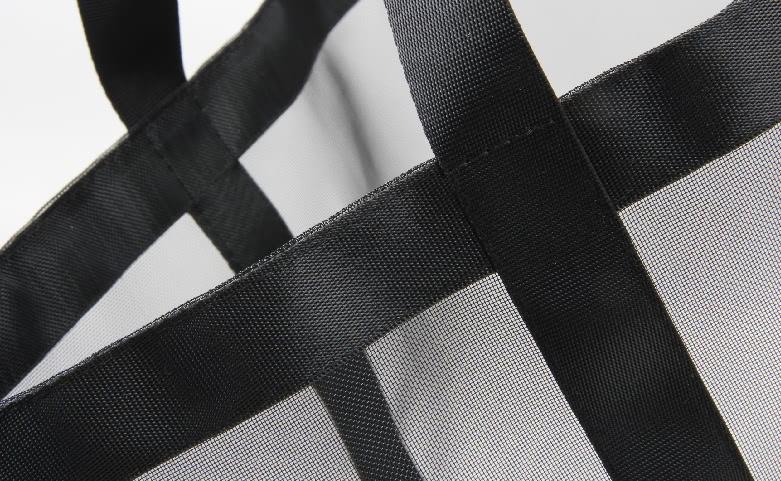 Black See-thru Mesh Nylon Tote Bags material