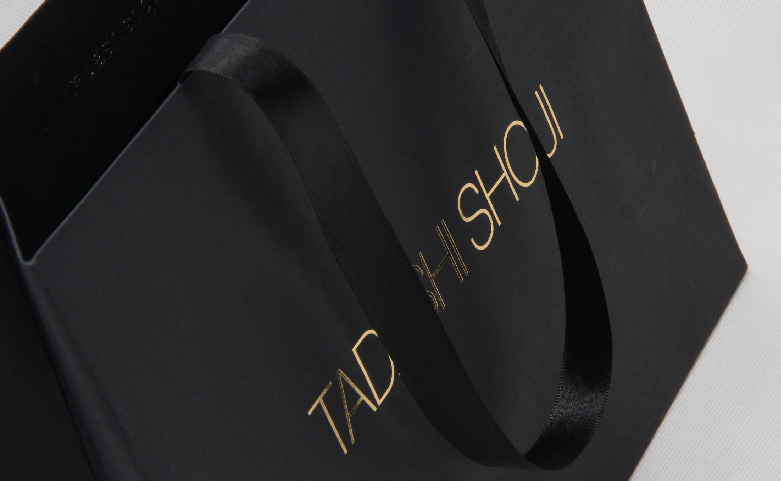 High End Luxury Black Garment Paper Bags handle