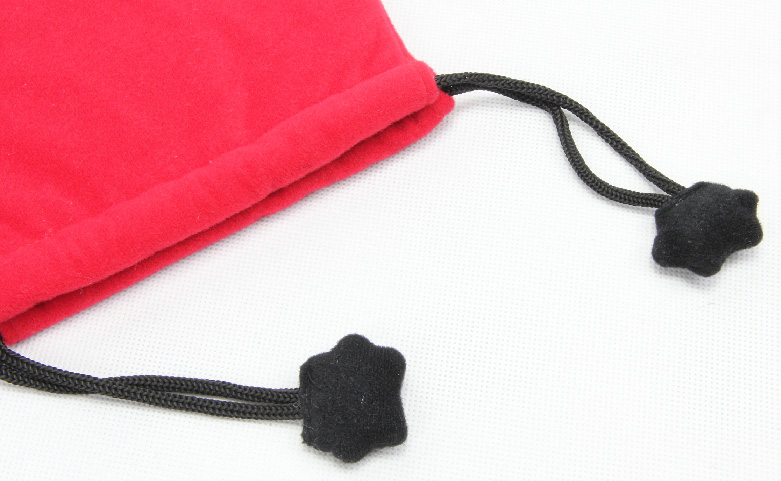 Cute Red Lint Drawstring Jewelry Bags handle
