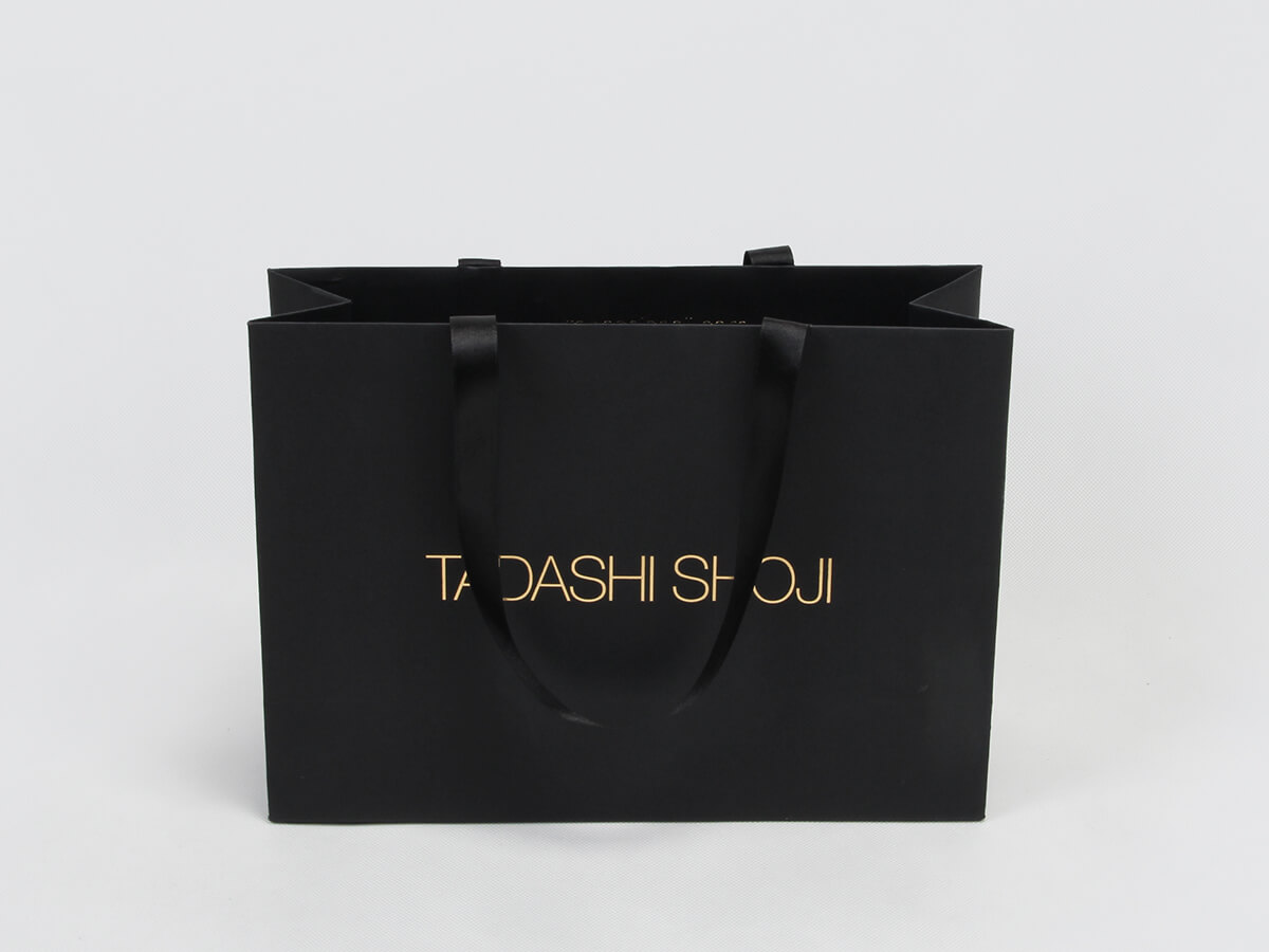 Black Dyed Paper Garment Shopping Bags Printed Display