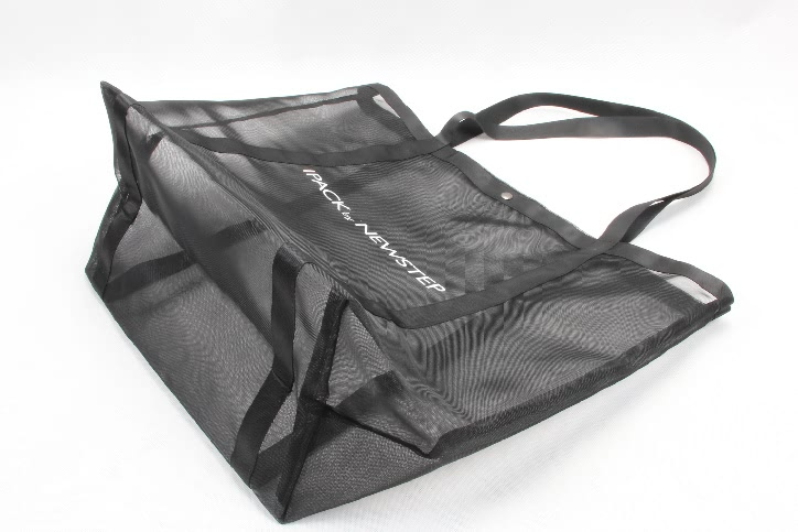 Black See-thru Mesh Nylon Tote Bags base