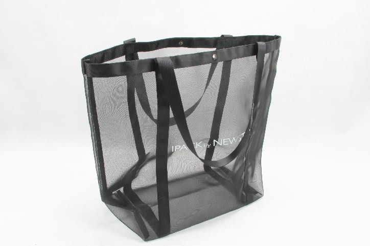 Black See-thru Mesh Nylon Tote Bags side