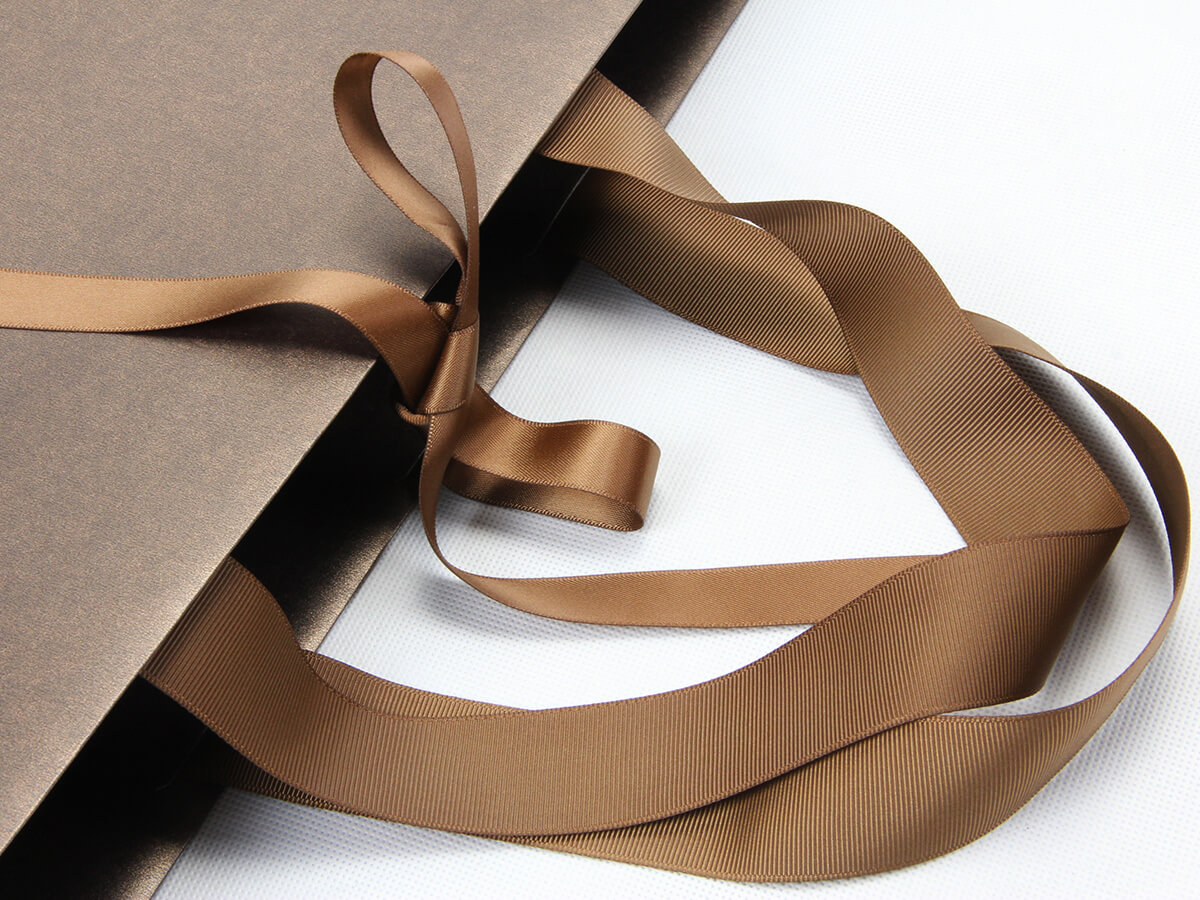 Bright Gold Iridescent Paper Shopping Gift Bags Ribbon Detail
