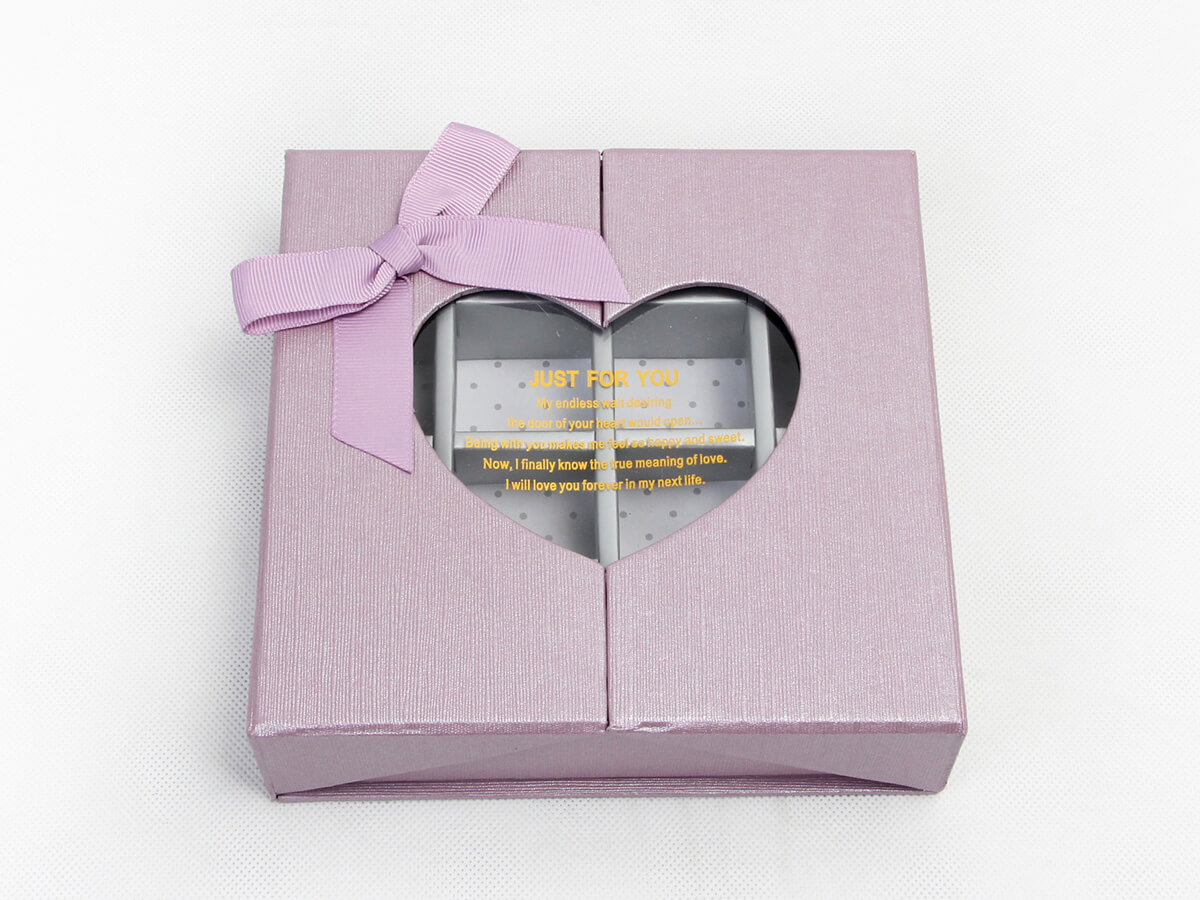 Chocolate Packaging Boxes With Love Heart Shape Transparent Window