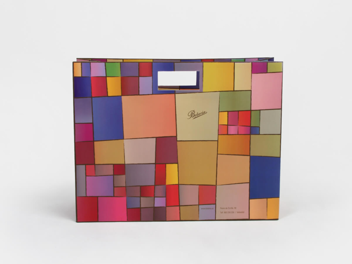 Colorful Blocks Punched Out Handle Shopping Bags