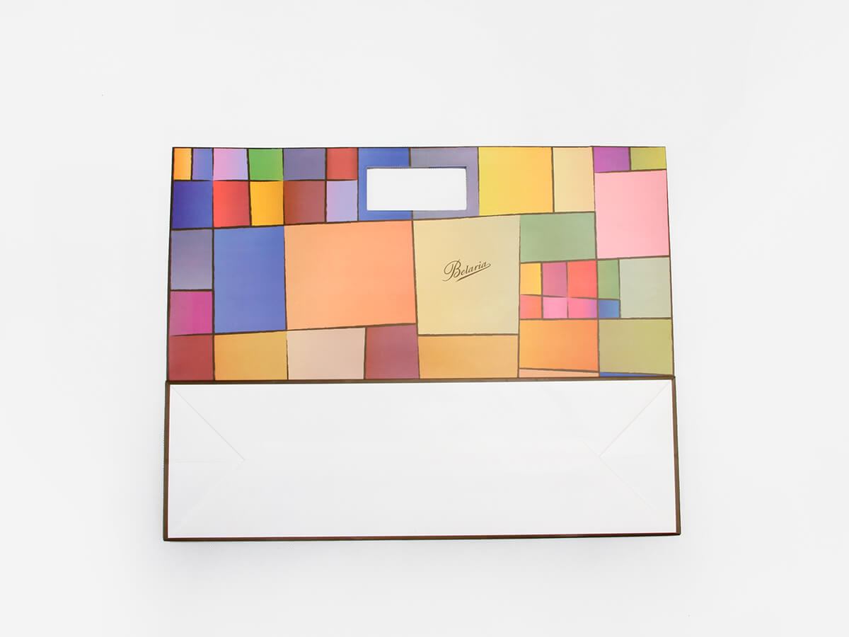 Colorful Blocks Punched Out Handle Shopping Bags Bottom Display