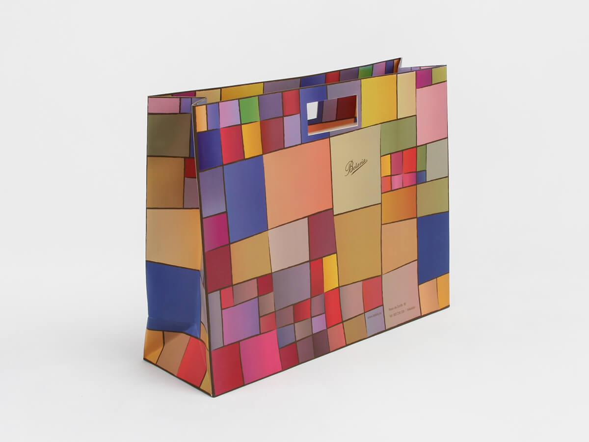 Colorful Blocks Punched Out Handle Shopping Bags Side Display