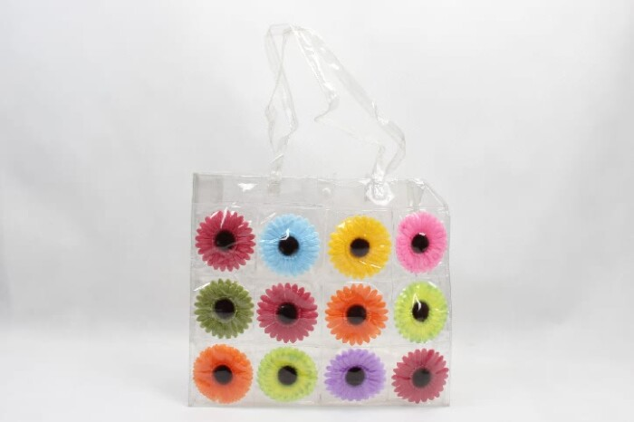 Colorful Flowers Clear PVC Tote Bags