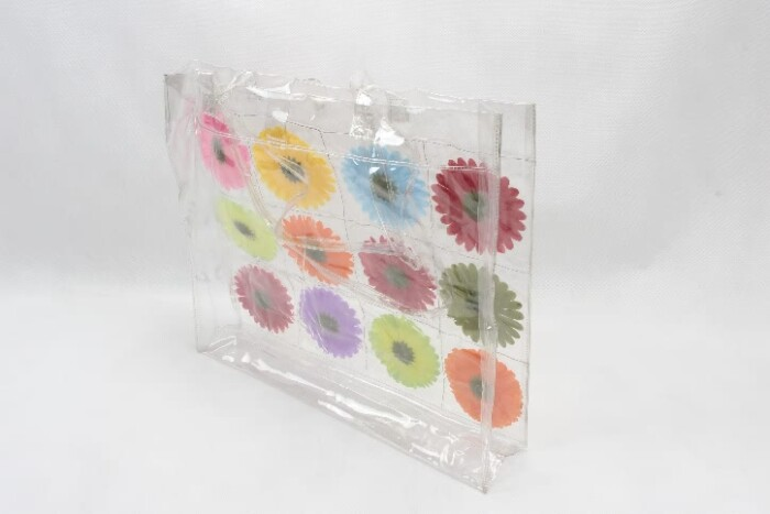 Colorful Flowers Clear PVC Tote Bags base