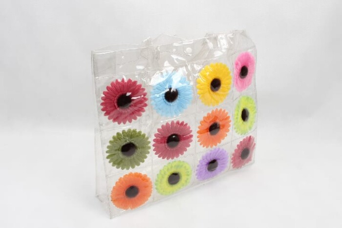 Colorful Flowers Clear PVC Tote Bags side