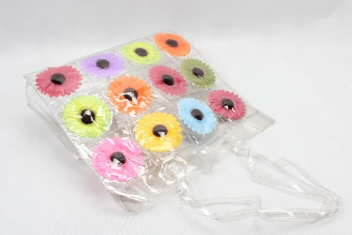 Colorful Flowers Clear PVC Tote Bags style