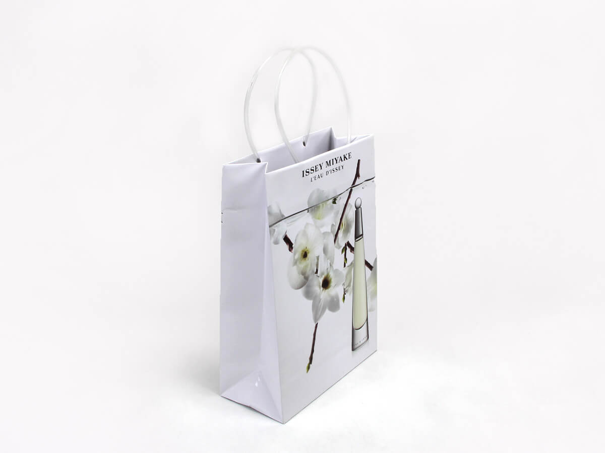 Cosmetic Shopping Paper Bags Side Display