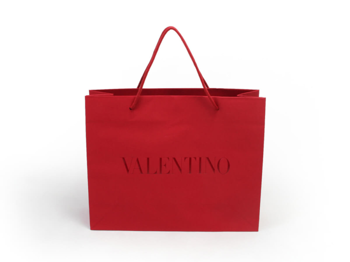 Dazzling Red Garment Paper Shopping Bags Material
