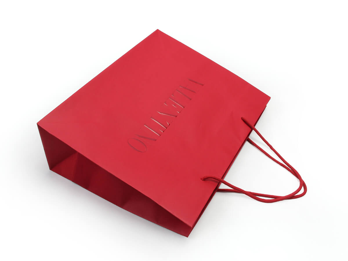 Dazzling Red Garment Paper Shopping Bags UV LOGO