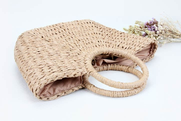 ECO-friendly Paper Woven Beach Bags handle