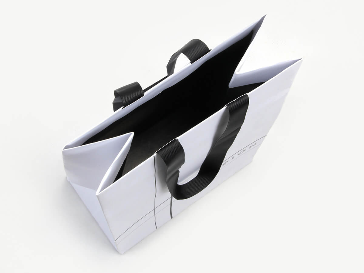 Elegant Snow White Gift Paper Bags Inside Display
