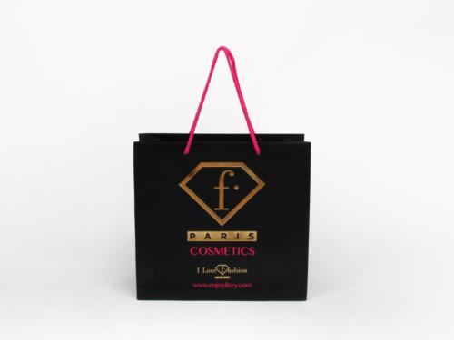 Fashion Black Cosmetic Paper Shopping Bags