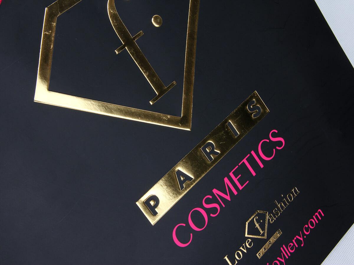 Fashion Black Cosmetic Paper Shopping Bags LOGO Technique