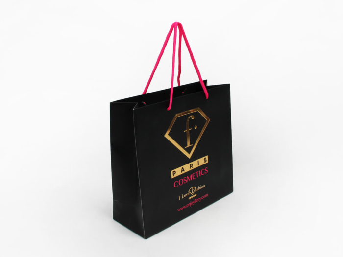 Fashion Black Cosmetic Paper Shopping Bags Side Display