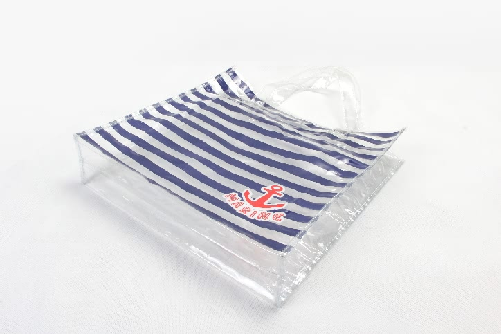 Fashion Horizontal Stripes Waterproof PVC Tote Bags Base