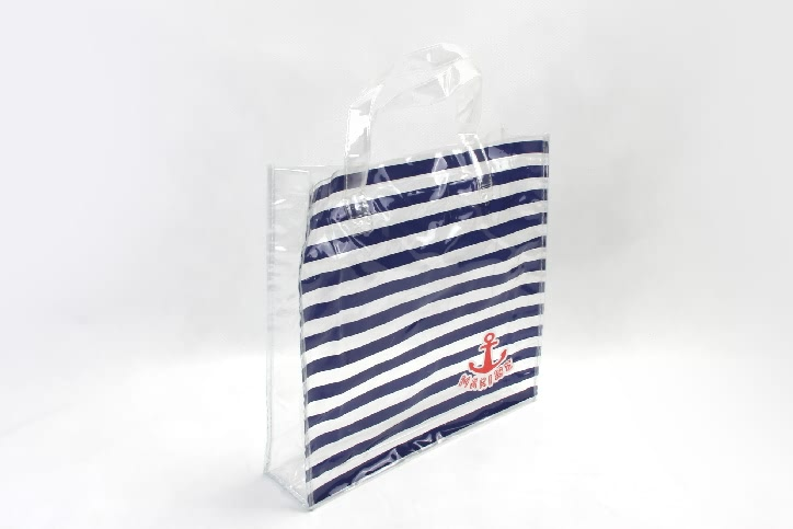 Fashion Horizontal Stripes Waterproof PVC Tote Bags Side