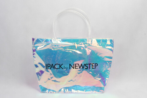 Fashion Pvc Tote Bags With Rainbow Iridescent Film