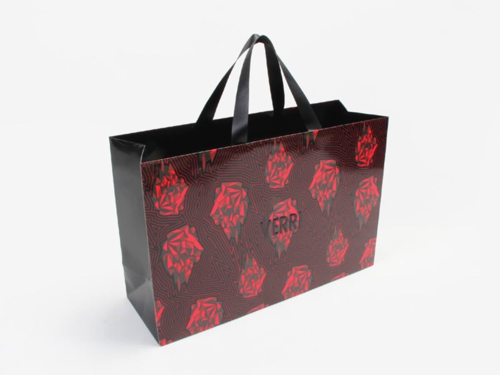 Flames Red Fashion Clothing Shopping Bags Side Display