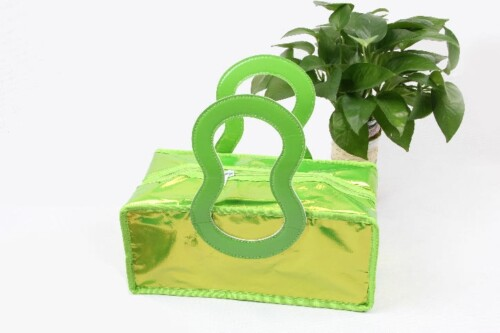 Glossy Fluorescence Green Pvc Insulated Lunch Bags With Stylish Handles Style