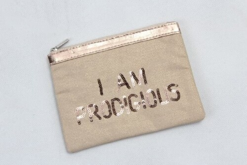 Gold Hot Stamped Spangly Canvas Cosmetic Bags