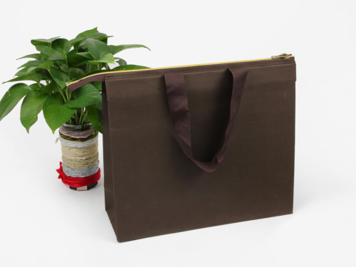 Individuality Paper Handle Bags With Metal Zipper