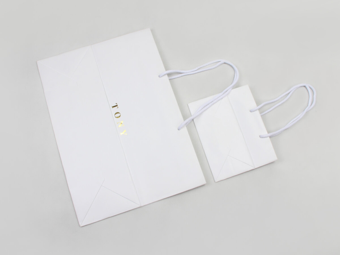 Laminated Matt Garment Paper Bags Set Bottom Detail