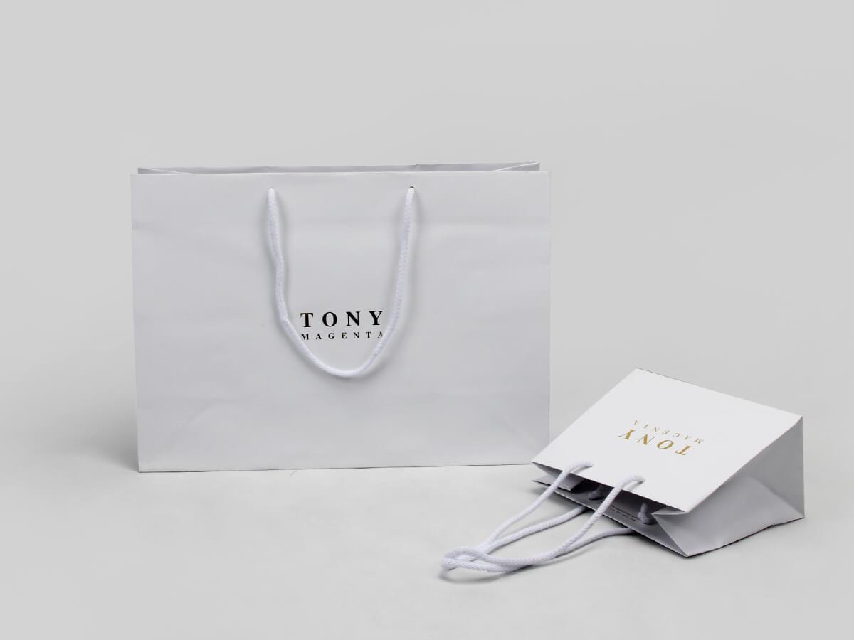 Laminated Matt Garment Paper Bags Set Corner Detail