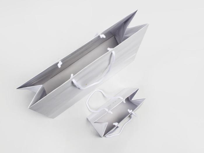 Laminated Matt Garment Paper Bags Set Inside Display