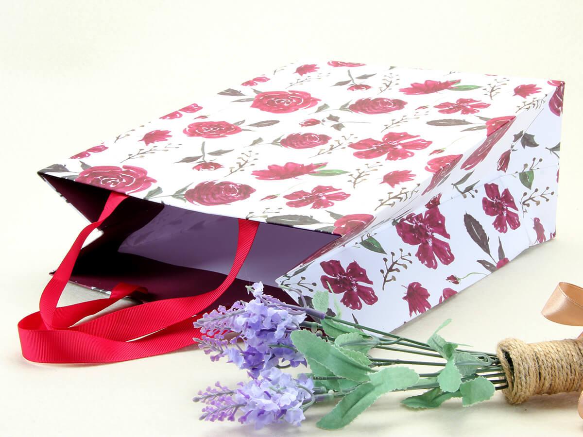 Large Purple Roses Gift Bags Handle Detail
