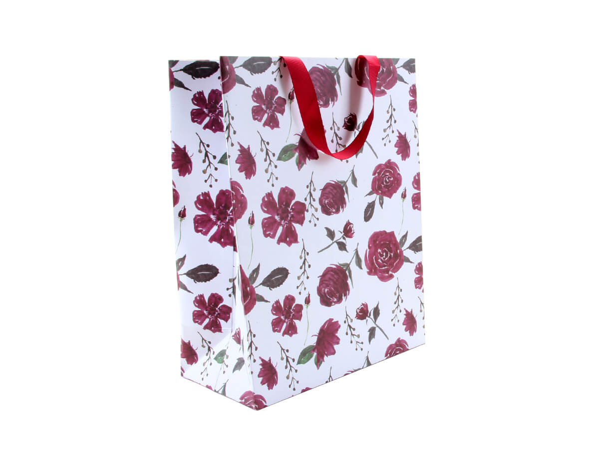 Large Purple Roses Gift Bags With Red Ribbon